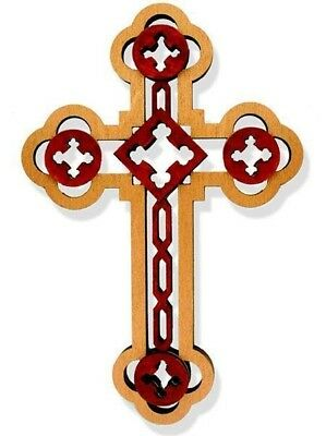"""NEW Laser Cut Wood Wall Cross AUTHENTIC Russian 8"""" GIFT"""