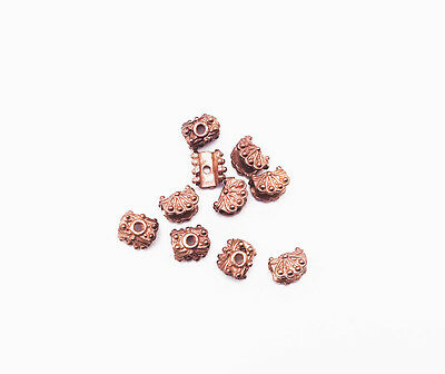 Solid Copper 6x8mm Rectangle Beadcap Findings • Q10 • 28580