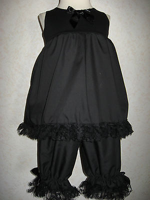 Mini Goth,Emo  Baby Girls  Black lacy Top/Bloomer set