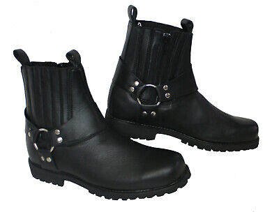 New Reb Style Motorcycle Short Genuine A Grade Leather Harness Boots All Sizes