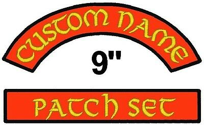 """2 Embroidered Name Patches Rocker Bar Set Biker Tags 9"""""""