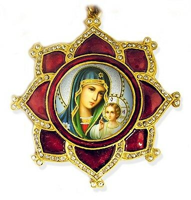 St Mary Eternal Bloom Madonna & Child Jesus Red Star Shape Enameled Frame Chain