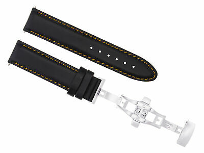 22Mm Leather Band Smooth Strap Deployment Clasp Buckle For Breitling Black Os#2