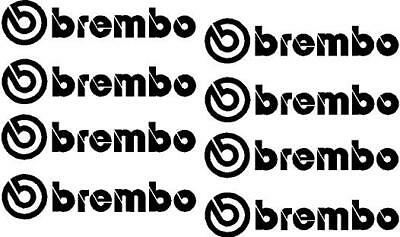 """""""BREMBO"""" Brake Caliper Stickers Decals x 8 in Black Other Colours Available"""