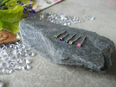 5 X STERLING SILVER NOSE STUDS,20g,1.5MM MIXED CRYSTAL,STRAIGHT