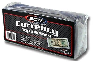 75 BCW 6.5x3 Regular Small US Currency Dollar Bill Hard Plastic Topload Holders