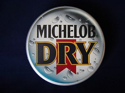 "Michelob Dry Beer Button Sign 13"" Dia Vacuum Formed Bottle Cap 1988"