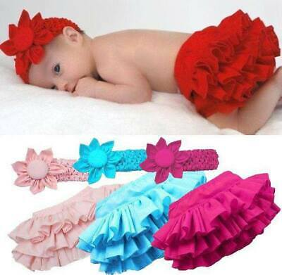 Baby Girl Frilly Pants/bloomer/knicker And Headband Set Photography Prop