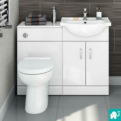 White Bathroom Furniture Vanity Unit with Basin & Toilet Bathroom Suite HGW2512