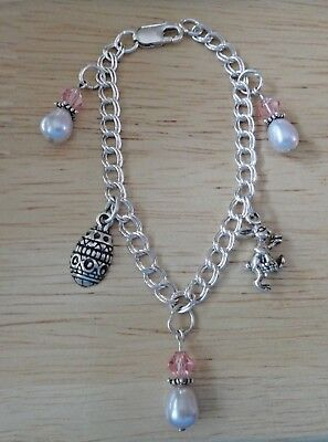 """6"""" Sterling Silver 3 Pearl drops and Easter Rabbit and Egg on Charm Bracelet"""