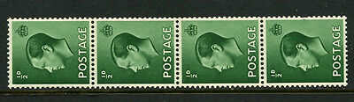 1936 ½d GREEN KEVIII VERTICAL COIL-STRIP OF 4. SG 457