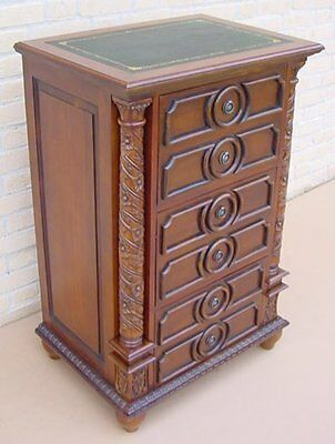 Flower Detailed Filing Cabinet 3 Drawer  Mahogany *new*