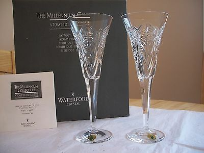 Waterford CRYSTAL MILLENNIUM  HAPPINESS FLUTES  NIB