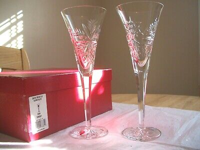 Waterford Snow Crystals Clear Crystal Flutes Snowflakes