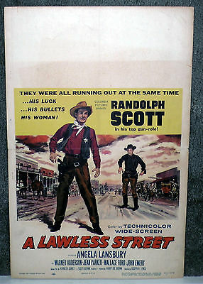 A LAWLESS STREET original 1955 movie  poster RANDOLPH SCOTT/MICHAEL PATE