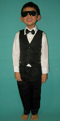 NEW Boys Formal Wedding Christening Black Suit Sets 000,00,0,1,2,3,4,5,6,8,10,12