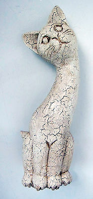 Carving of a cat, hardwood, white finish hand-carved 40 cm high SHABBY CHIC new