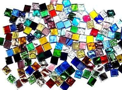 100 Mixed Colour Mosaic MIRROR Tiles 1cm x 1cm