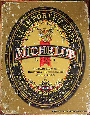 Tin Sign Advertising Michelob Logo Brewing Co Ad Aged