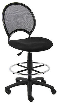 Mesh Drafting Stool Chair Design With Open Back To Prevent Body Heat  B16215