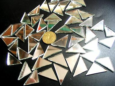 50 Large MOSAIC Mirror Triangle Tiles 35mm x 20mm