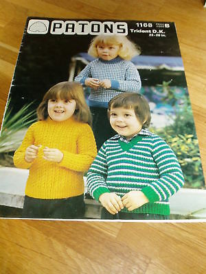 Vintage Knitting Pattern Patons Childs Sweaters Dk