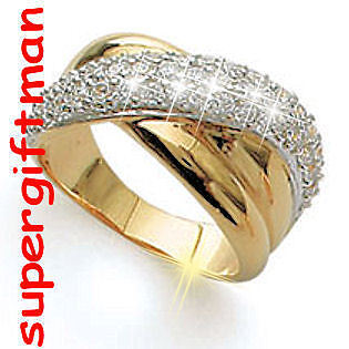X033 - BAGUE OR DOUBLE AM. / ring goud  DIAMANTS CZ T51