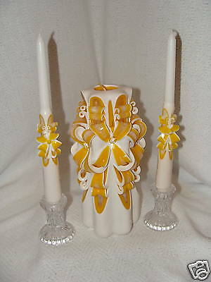 New Hand Carved Yellow Unity Wedding Candles W/ Tapers