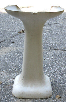 Antique Bird Bath Garden Cast Iron Pedestal Porcelain Art Sink Basin Table Stand