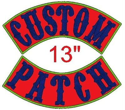 """Custom Embroidered Name Patch XL Rocker Motorcycle 13"""" Personalized Biker Badge"""