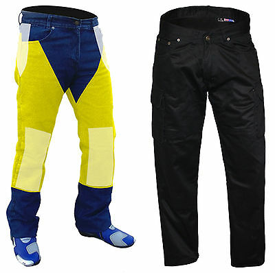 "MENS REINFORCED WITH DuPont™ KEVLAR®  MOTORCYCLE CARGO JEANS PANTS BLACK 40""W"
