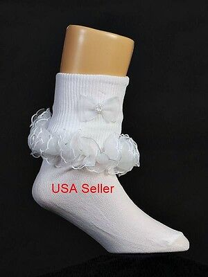 Girls White Socks RUFFLE Trim Flower Girl Wedding Communion 0-Youth 9 USA Seller