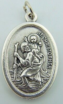 """Saint St Christopher Protect Us Catholic Medal 1"""" Silver Plated Made In Italy!"""