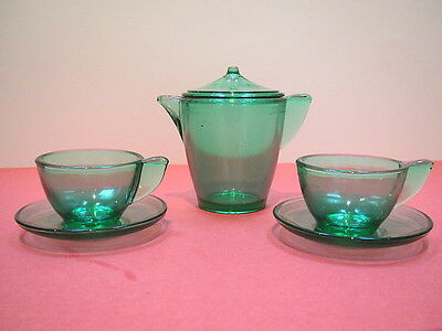 Akro Agate green strippled band teapot & cover w 2 closed handle cups & saucers