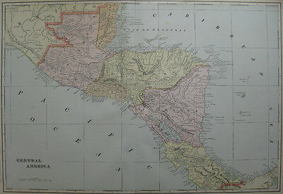 1901  Antique  MAP of   CENTRAL AMERICA   Beautiful COLOR 20x13  Superb!