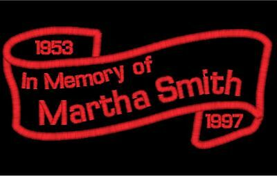 2 - IN MEMORY Custom Name Patches Banner Scroll Memorial Tags Motorcycle Biker
