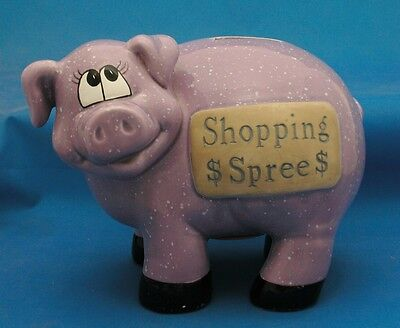 SHOPPING SPREE Piggy Bank Purple Pig Savings Bank