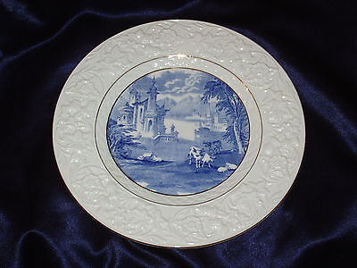 Malino Newcastle Upon Tyne Plate Bucolic Blue Scene Cow Embossed Thistle Flowers