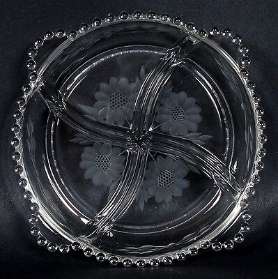 Hughes Cornflower/candlewick Relish Dish - 4 Sections