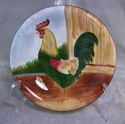 Sakura David Brown Dinnerware Salad Plate Rooster On the Farm