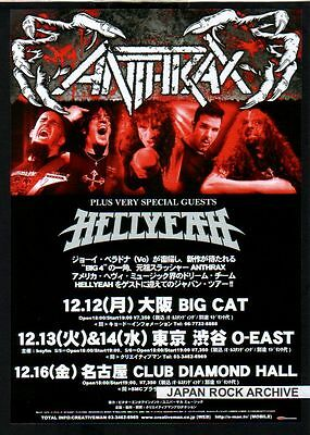 2011 Anthrax Hellyeah JAPAN Tour Concert Flyer mini poster / Japanese