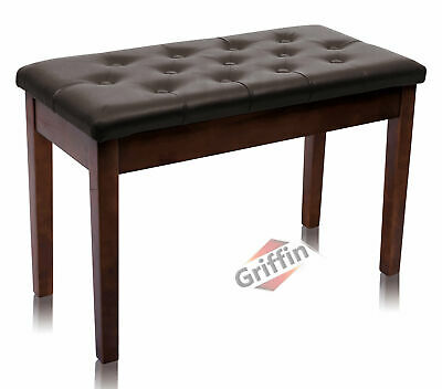 Brown Leather Piano Bench Wood Double Duet Keyboard Seat Storage Griffin