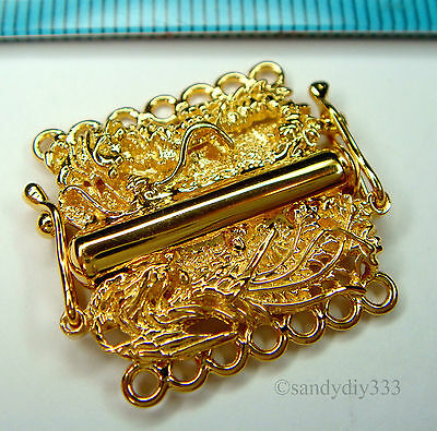 1x REAL 18K GOLD plated over STERLING SILVER 1-STRAND PEARL BOX CLASP 8mm G238