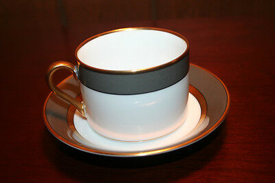 Fitz and Floyd China Gray Renaissance Cup and Saucer - Excellent Condition