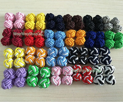16 Pairs silk knot Cufflinks Cuff Links Cool Color Clothes Sewing Craft DIY