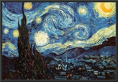 Starry Night By Vincent Van Gogh Picture Poster Framed (Black)