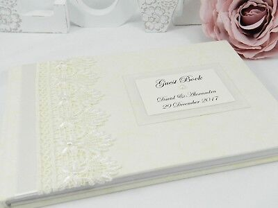 """Personalised """"Guipure Lace"""" Wedding Guest Book - White & Ivory + 2 sizes"""