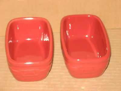 Longaberger Tomato Red Pottery Dash Prep Bowls FOUR MINT in boxes never used!