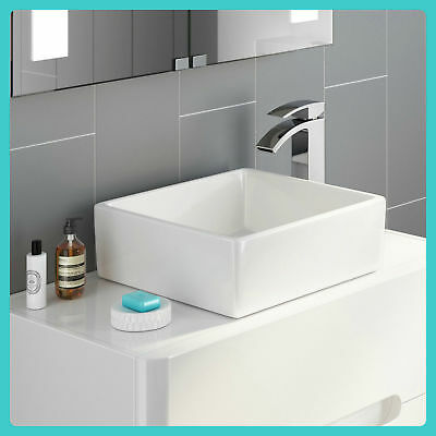 Cloakroom Wash Basin Counter Top Bathroom Ceramic White High Gloss Sink