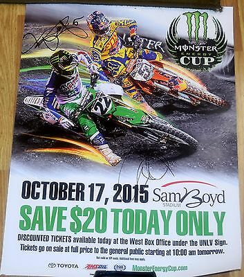 RYAN DUNGEY + CHAD REED Signed 2015 Monster Energy Cup Poster *Supercross